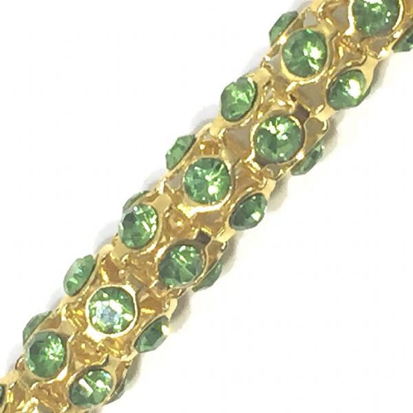 7mm lime green rhinestone gold colour reticulated chain -- 1meter
